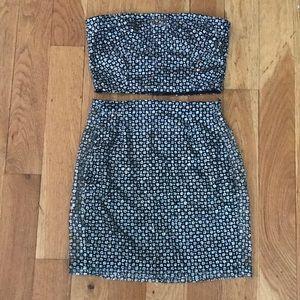 Glittery 2 piece Bandeau Skirt Set
